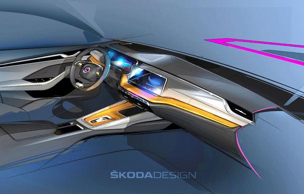 Primele schițe cu interiorul noii generații Skoda Octavia: modelul cehilor va avea, în premieră, un volan cu două spițe - Poza 1