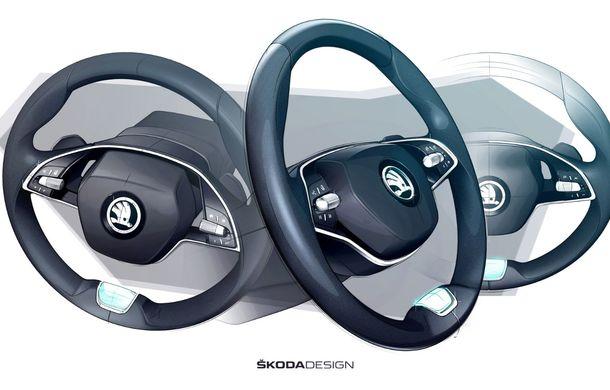 Primele schițe cu interiorul noii generații Skoda Octavia: modelul cehilor va avea, în premieră, un volan cu două spițe - Poza 2