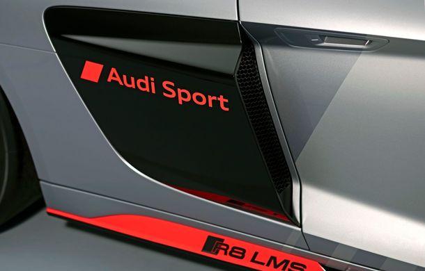 Audi a prezentat noua versiune R8 LMS GT4: versiunea de circuit oferă 495 CP și roți motrice spate - Poza 24