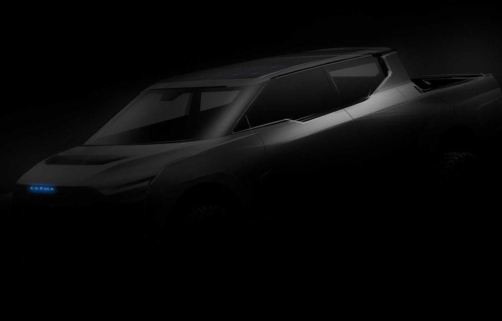 Karma dezvăluie un teaser pentru un viitor pick-up electric: potențial rival pentru noul Tesla Cybertruck - Poza 1
