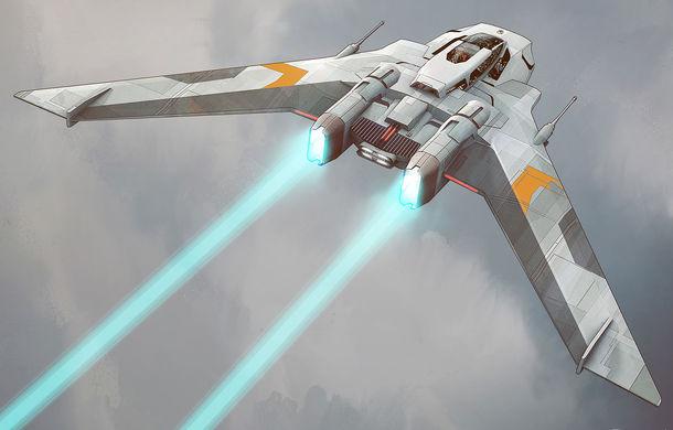 Primele schițe cu nava spațială dezvoltată de Porsche pentru noua peliculă Star Wars: The Rise of Skywalker - Poza 1