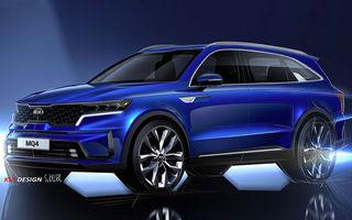 Schițe oficiale cu viitoarea generație Kia Sorento: asiaticii oferă detalii de exterior, dar și primele imagini cu interiorul noului SUV