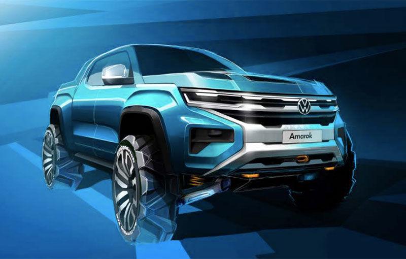 Prima schiță oficială cu viitoarea generație Volkswagen Amarok: platformă comună cu viitorul Ford Ranger și debut programat pentru 2022 - Poza 1