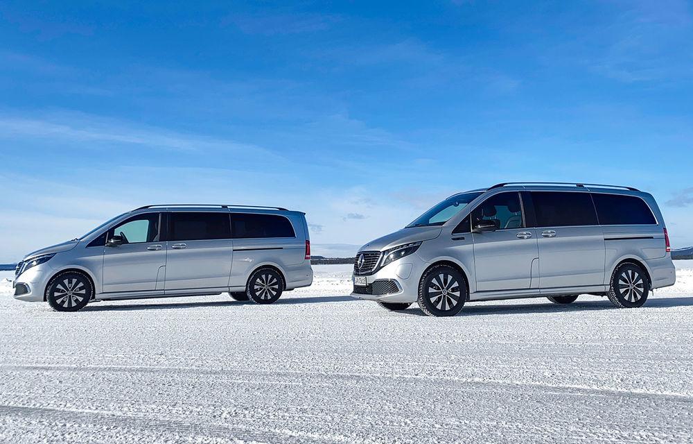 Mercedes-Benz EQV, testat în condiții extreme în Suedia: monovolumul electric cu autonomie de peste 400 de kilometri va fi lansat pe piață în a doua jumătate a anului - Poza 1