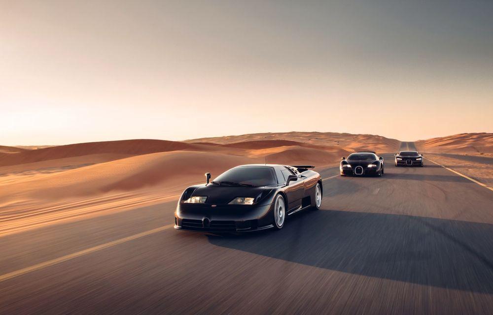 """Ședință foto cu """"Sfânta Treime"""" a gamei Bugatti: EB110, Veyron și Chiron au pozat în Dubai - Poza 4"""
