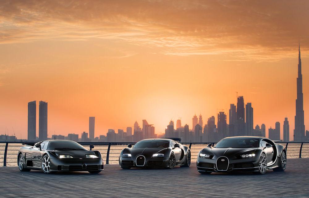 """Ședință foto cu """"Sfânta Treime"""" a gamei Bugatti: EB110, Veyron și Chiron au pozat în Dubai - Poza 1"""