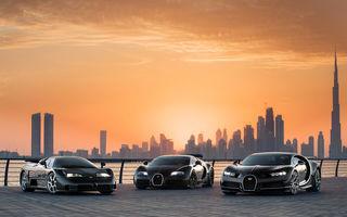 """Ședință foto cu """"Sfânta Treime"""" a gamei Bugatti: EB110, Veyron și Chiron au pozat în Dubai"""