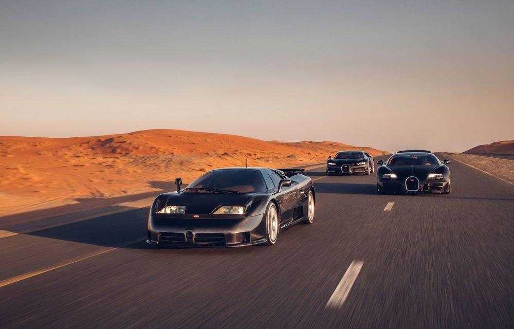 """Ședință foto cu """"Sfânta Treime"""" a gamei Bugatti: EB110, Veyron și Chiron au pozat în Dubai - Poza 3"""