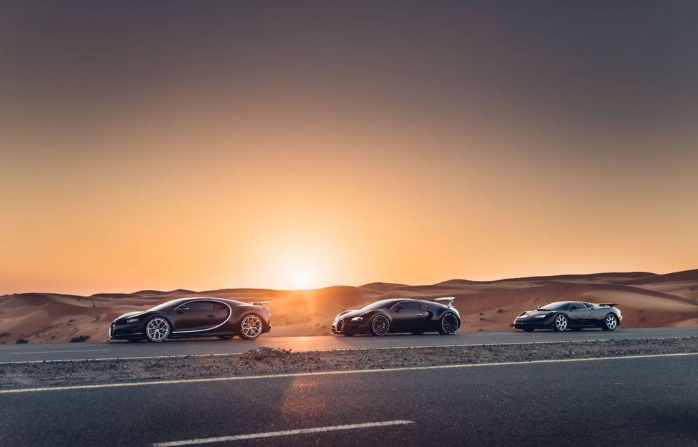 """Ședință foto cu """"Sfânta Treime"""" a gamei Bugatti: EB110, Veyron și Chiron au pozat în Dubai - Poza 7"""