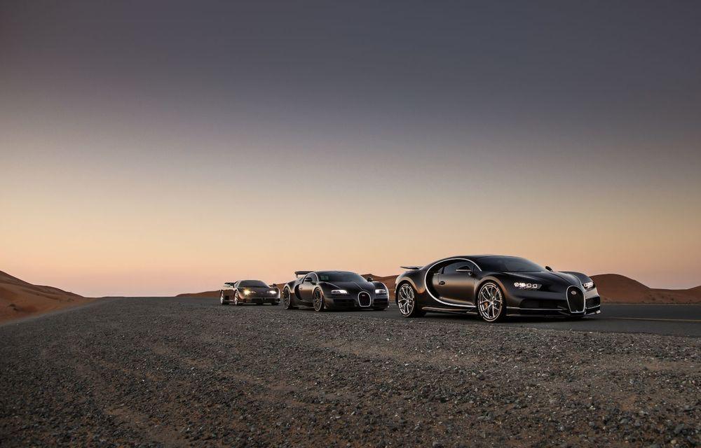 """Ședință foto cu """"Sfânta Treime"""" a gamei Bugatti: EB110, Veyron și Chiron au pozat în Dubai - Poza 6"""