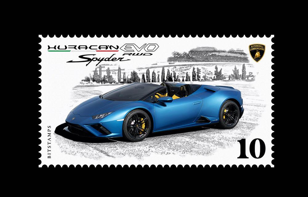 Lamborghini a pregătit un timbru digital cu noul Huracan Evo Spyder RWD: ediție limitată la 20.000 de unități - Poza 1