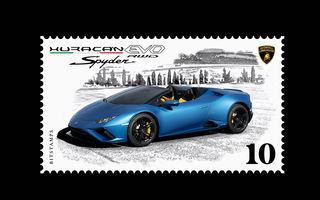 Lamborghini a pregătit un timbru digital cu noul Huracan Evo Spyder RWD: ediție limitată la 20.000 de unități