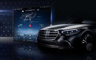 Prima imagine cu noua versiune a sistemului de infotainment MBUX de la Mercedes-Benz pentru Clasa S: prezentarea oficială va avea loc în 8 iulie