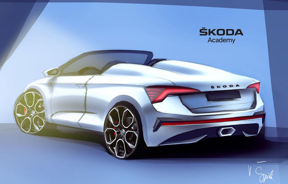 Exercițiu de design: prima imagine teaser cu Skoda Slavia, versiunea Spider a modelului Scala - Poza 2