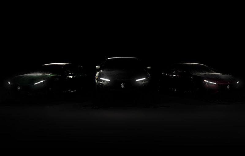 Prima imagine teaser cu viitoarele Maserati Ghibli, Quattroporte și Levante Trofeo: versiunile de performanță ar urma să fie echipate cu un V8 de 4.0 litri - Poza 1