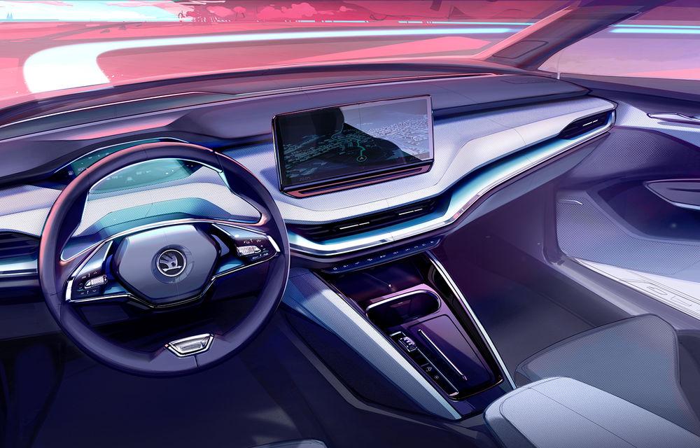 Prima schiță oficială cu interiorul viitorului Skoda Enyaq iV: SUV-ul electric va avea ecran central de 13 inch și head-up display cu realitate augmentată - Poza 1