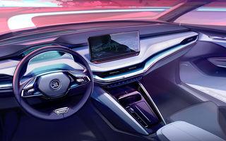 Prima schiță oficială cu interiorul viitorului Skoda Enyaq iV: SUV-ul electric va avea ecran central de 13 inch și head-up display cu realitate augmentată