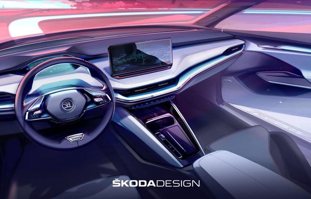 Prima schiță oficială cu interiorul viitorului Skoda Enyaq iV: SUV-ul electric va avea ecran central de 13 inch și head-up display cu realitate augmentată - Poza 2