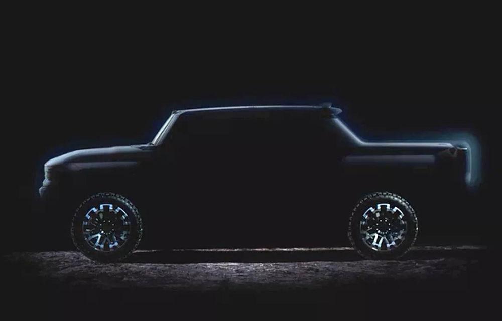 Un nou teaser pentru Hummer EV: pick-up-ul electric de 1.000 de cai putere va fi disponibil din 2021 - Poza 1