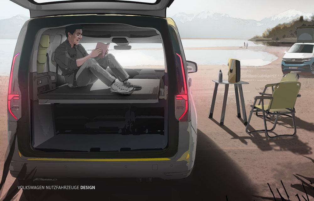 Primele imagini prelucrate digital cu viitorul Volkswagen Mini Camper: modelul are la bază noul Caddy și va fi prezentat în luna septembrie - Poza 3