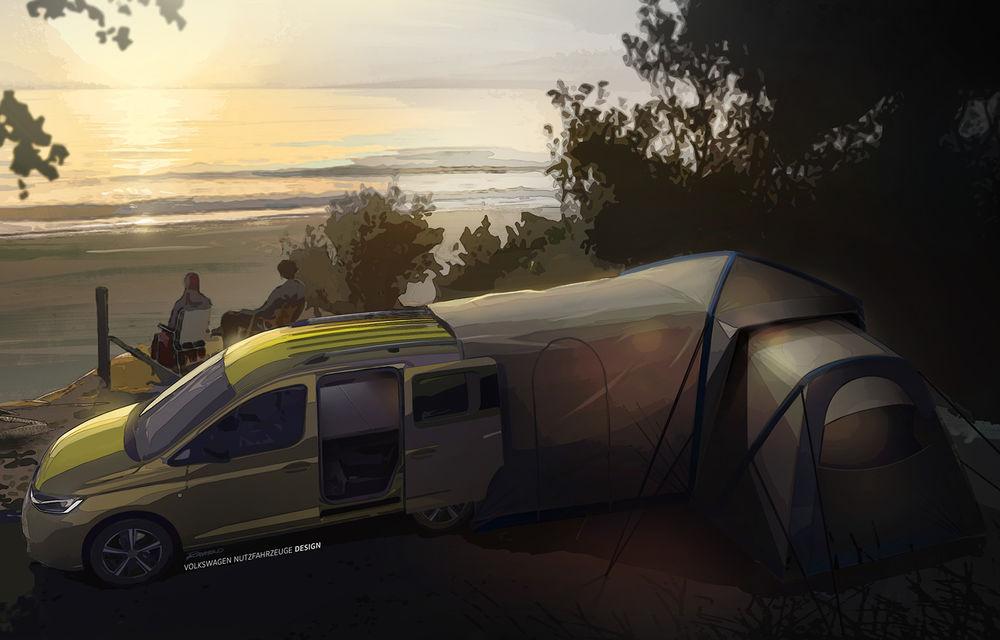 Primele imagini prelucrate digital cu viitorul Volkswagen Mini Camper: modelul are la bază noul Caddy și va fi prezentat în luna septembrie - Poza 2