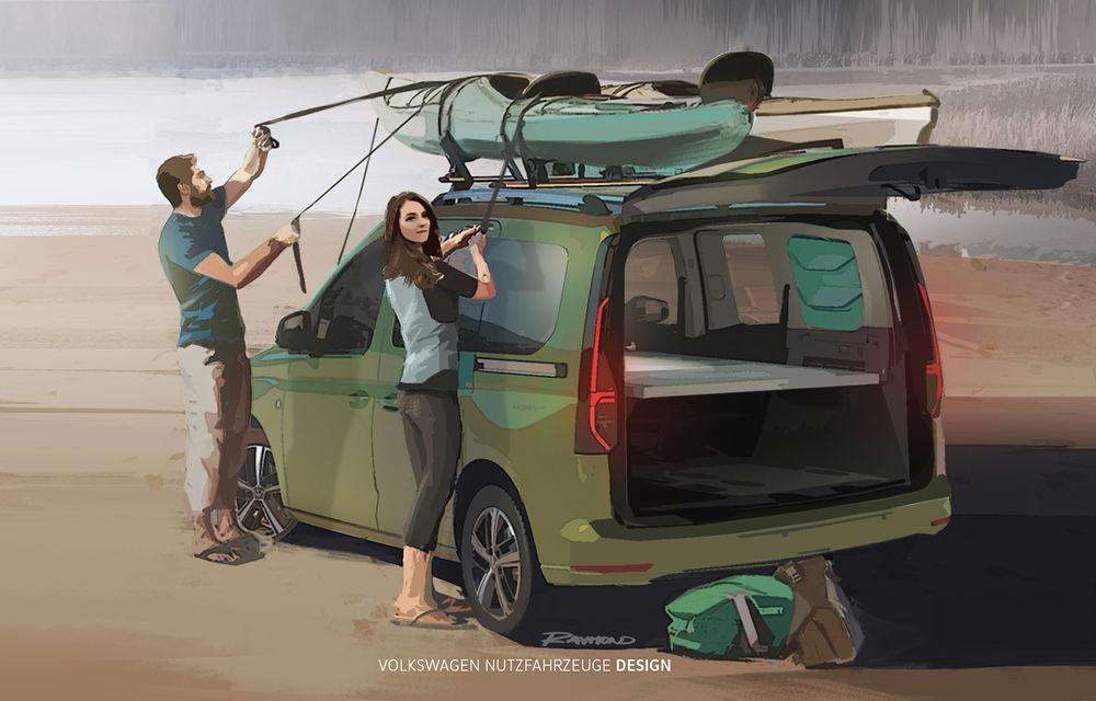 Primele imagini prelucrate digital cu viitorul Volkswagen Mini Camper: modelul are la bază noul Caddy și va fi prezentat în luna septembrie - Poza 1