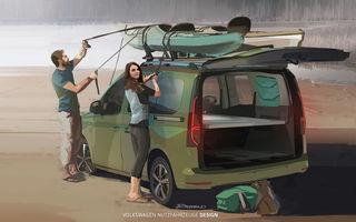 Primele imagini prelucrate digital cu viitorul Volkswagen Mini Camper: modelul are la bază noul Caddy și va fi prezentat în luna septembrie