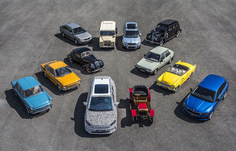 Skoda a publicat imagini camuflate cu viitorul Enyaq iV: SUV-ul electric a pozat alături de câteva modele istorice din gama cehilor - Poza 1