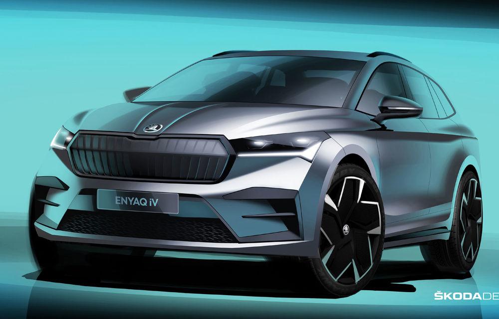 Primele schițe oficiale cu Skoda Enyaq iV: SUV-ul electric va fi prezentat în data de 1 septembrie - Poza 1