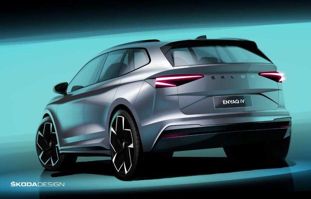 Primele schițe oficiale cu Skoda Enyaq iV: SUV-ul electric va fi prezentat în data de 1 septembrie - Poza 2