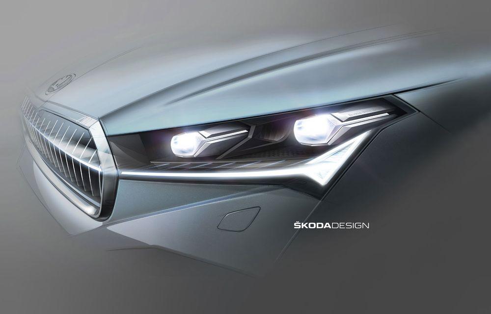 Noi schițe oficiale cu Skoda Enyaq iV: cehii dezvăluie blocurile optice și stopurile SUV-ului electric ce va fi prezentat în data de 1 septembrie - Poza 1