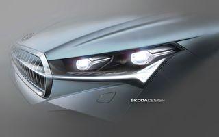 Noi schițe oficiale cu Skoda Enyaq iV: cehii dezvăluie blocurile optice și stopurile SUV-ului electric ce va fi prezentat în data de 1 septembrie