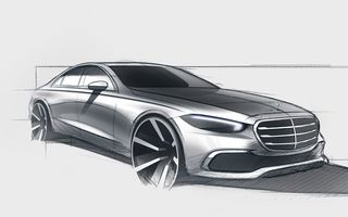 Schiță oficială cu noua generație Mercedes-Benz Clasa S: premieră mondială în 2 septembrie