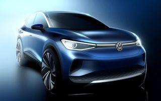 Primele schițe oficiale cu Volkswagen ID.4: viitorul SUV electric va avea un coeficient aerodinamic de 0.28 și autonomie de 500 de kilometri