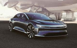 Lucid Air va fi cel mai rapid sedan din lume: 9.9 secunde pentru sfertul de milă. Modelul electric va avea două motoare de 1.080 de cai putere