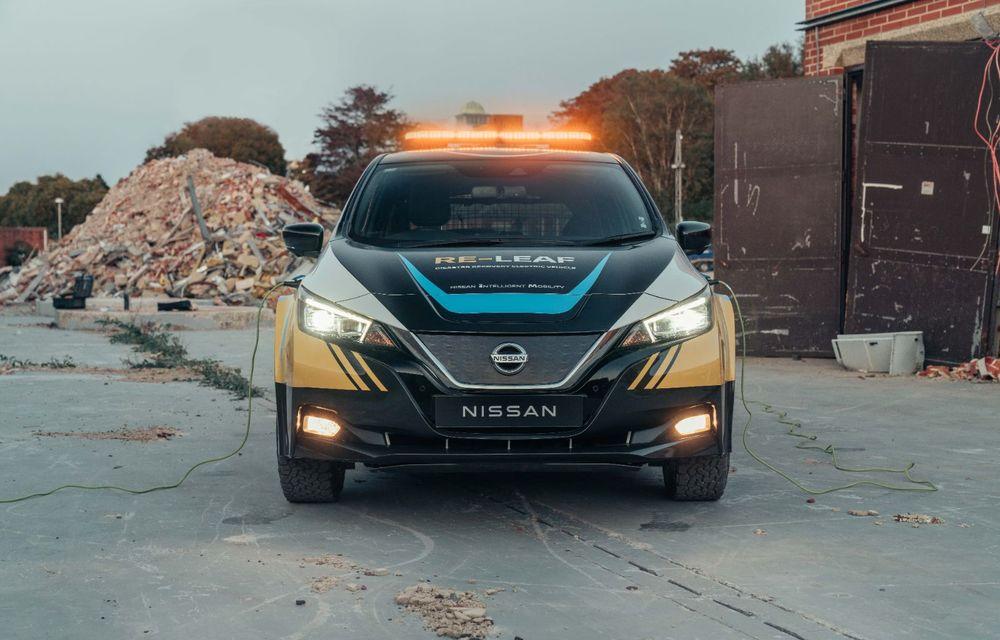 Nissan a lansat conceptul unui vehicul de intervenții bazat pe Leaf: prototipul poate livra energia electrică stocată în baterii către echipamentele casnice - Poza 2