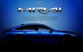 Viitoarea generație Toyota Mirai va fi prezentată în decembrie: modelul cu pile de combustie pe bază de hidrogen va avea roți motrice spate și autonomie mai mare