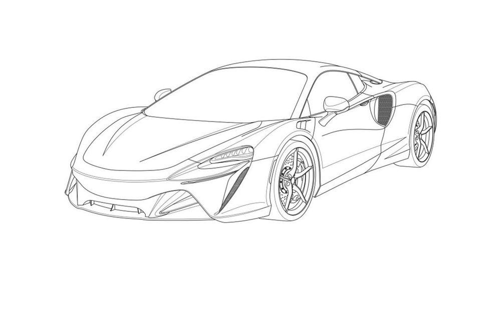 Primele schițe cu noul supercar hibrid de la McLaren: modelul va fi prezentat în 2021 - Poza 1