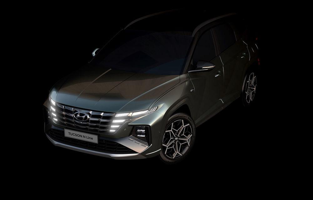 Primele imagini teaser cu noua generație Hyundai Tucson N Line: design mai agresiv pentru SUV-ul asiatic - Poza 1