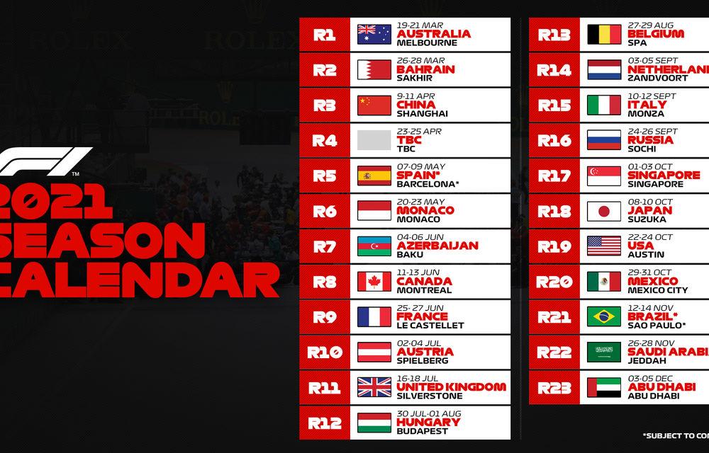 Formula 1 a publicat calendarul provizoriu pentru sezonul 2021: campionatul va avea 23 de curse și va ajunge în premieră în Arabia Saudită - Poza 2