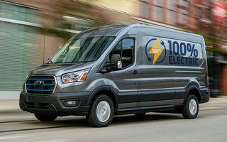 Primele imagini și detalii despre utilitara electrică Ford E-Transit: 269 de cai putere și autonomie de 350 de kilometri