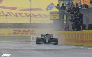 Hamilton a câștigat pe ploaie la Istanbul și a egalat recordul de 7 titluri deținut de Schumacher! Perez și Vettel, pe podium