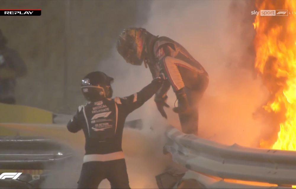 Accident major în cursa de Formula 1 din Bahrain: Grosjean a scăpat cu câteva arsuri după ce monopostul Haas a explodat - Poza 2