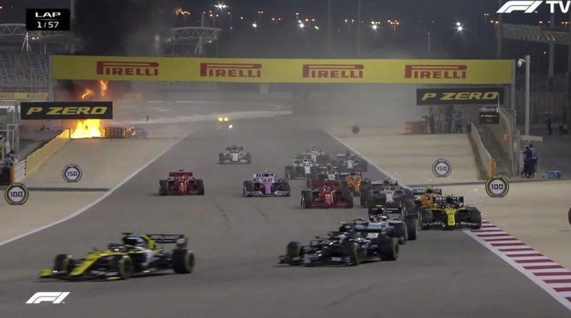 Accident major în cursa de Formula 1 din Bahrain: Grosjean a scăpat cu câteva arsuri după ce monopostul Haas a explodat - Poza 3