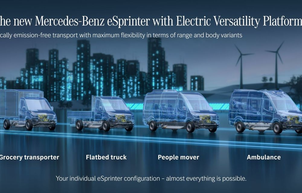 Mercedes-Benz anunță o platformă dedicată utilitarelor electrice: arhitectura va debuta pe viitoarea generație eSprinter - Poza 2
