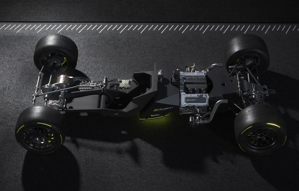 Detalii despre hypercar-ul Peugeot pentru Le Mans: plug-in hybrid cu motor pe benzină V6 de 2.6 litri și 680 CP plus un motor electric de 272 CP - Poza 6