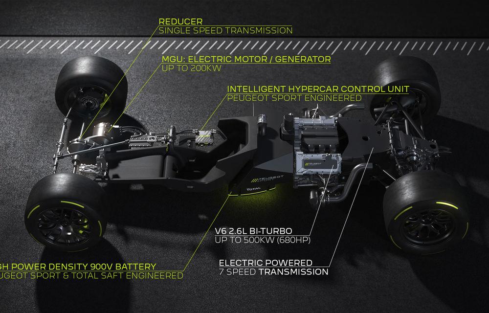 Detalii despre hypercar-ul Peugeot pentru Le Mans: plug-in hybrid cu motor pe benzină V6 de 2.6 litri și 680 CP plus un motor electric de 272 CP - Poza 5