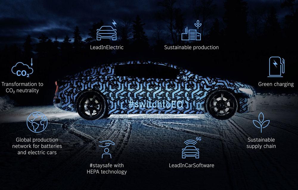 Primele teasere cu Mercedes-Benz EQS: sedanul electric cu autonomie de 700 de kilometri va avea software cu inteligență artificială și filtru HEPA la interior - Poza 2