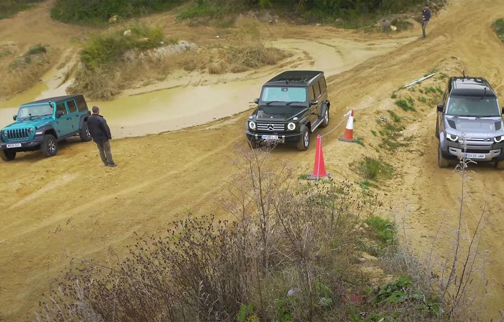 VIDEO: Liniuță în off-road cu Mercedes-Benz Clasa G, Land Rover Defender și Jeep Wrangler - Poza 1