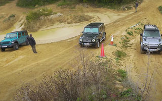 VIDEO: Liniuță în off-road cu Mercedes-Benz Clasa G, Land Rover Defender și Jeep Wrangler